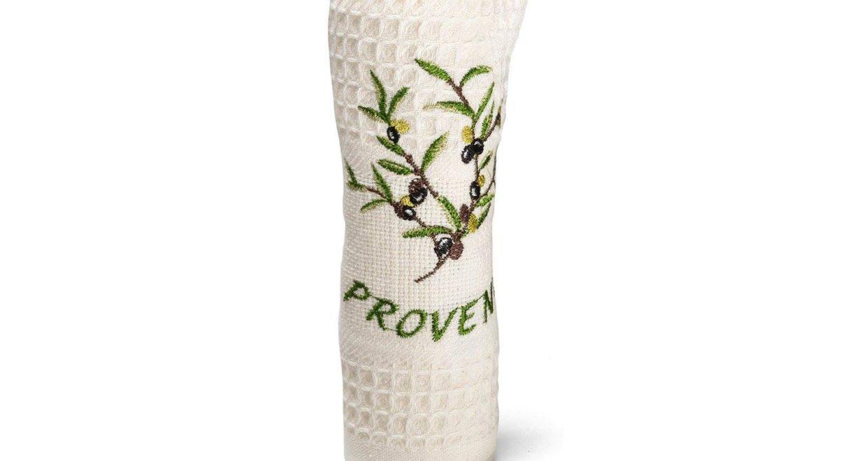 ラベンダーやオリーブの木など、プロヴァンスの自然をモチーフにした刺繍が素敵なプロヴァンスラウンドタオル。
