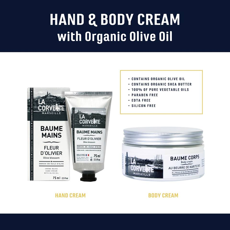 地中海沿岸で太陽を浴びて育ったオリーブオイルと天然シアバターを配合した手肌に優しいハンドクリーム、LA CORVETTE ハンドクリームはいかがですか?